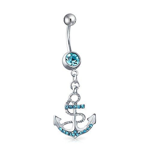 Bling Jewelry Nautische Anker Baumeln Bar Bauch Ring Für Damen Aqua Blue Crystal 316L Edelstahl Stärke 14 - Anker Bauchnabel-ringe