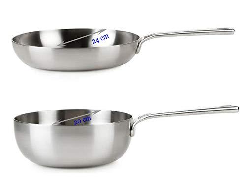 Healthy & tasty innovative pfannen set in acciaio inox – padella di alta qualità Ø 24 cm & padella Ø 20 cm adatto per induzione + forno