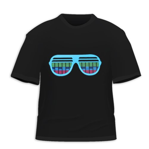 HDE Sunglasses Equalizer Sound Activated LED T-Shirt (M)
