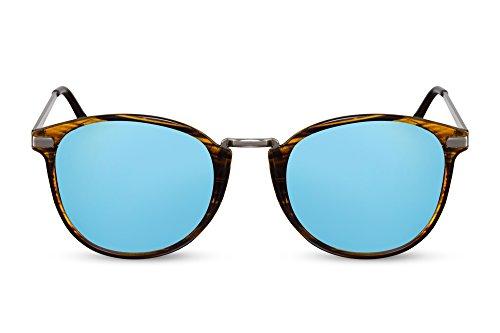 Cheapass Sonnenbrille Rund Braun Blau Verspiegelt UV-400 Retro Metall Damen Herren