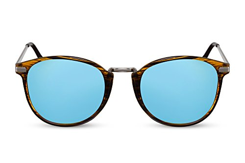 08916e761f Cheapass Gafas de Sol Redondas Marrones Azules Con Espejos UV400 Metálicas  Hombre Mujer
