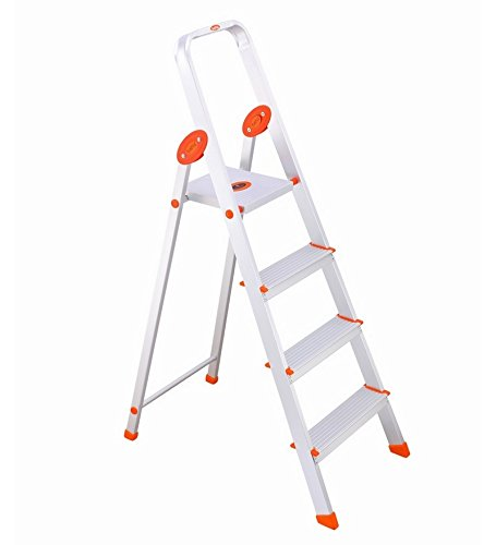 Bathla Advance 4-Step Foldable Aluminium Ladder with Sure-Hinge Technology (Silver and Orange)