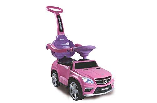 Jamara 460243 - Rutscher Mercedes GL63AMG pink 2in1 – Kippschutz, Kunstledersitz, Kofferraum, Schub- und Haltestange mit Rückenlehne /...