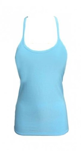 Momo Fashion-adultes filles Mesdames Racerback Neon Vest Top Taille 36-44 Turquoise