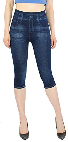 Jean Leggings (dy_mode Capri Leggings Damen 3/4 Frauen Leggings Jeans Optik - Kurze Sommer Leggings - CLG002 (3LG218-Blau | OneSize Gr.36-42))