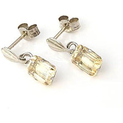 In oro bianco 9 kt, taglio a smeraldo, Madeira-Orecchini pendenti con quarzo citrino