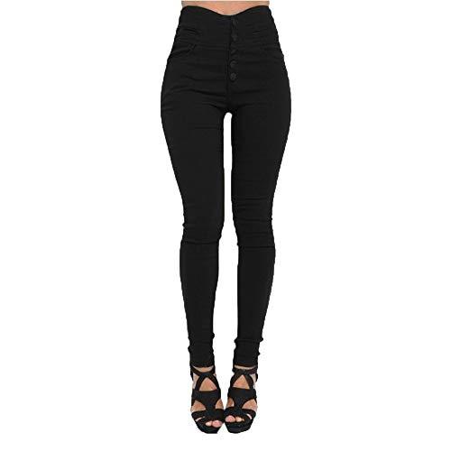 Ansenesna Hose Damen High Waist Stretch Skinny Elegant Freizeithosen Frauen Slim Fit Elastische Hosen (S, Schwarz)