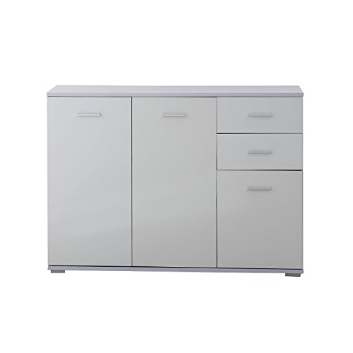 Homcom Modern High Gloss Side Cabinet Table Sideboard Chest of Drawer Bedroom Living Room Storage Furniture