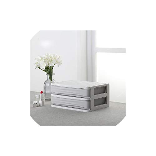 JobFine Storage Box Plastische, kosmetische Drawer Make-up-Organisator-Verfassungs-Aufbewahrungsbehälter-Behälter-Halter-Desktop-Speicher-Fall, 2 Layer Drawer-Gray