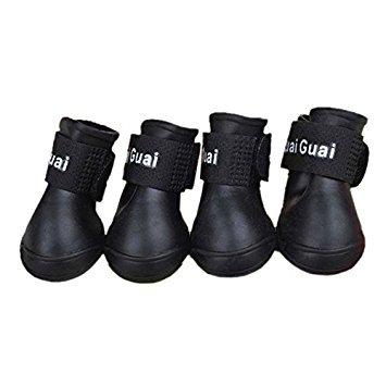 TOOGOO£¨R£©Negro S, Zapatos de mascota Botines de goma Botas de lluvia impermeable...
