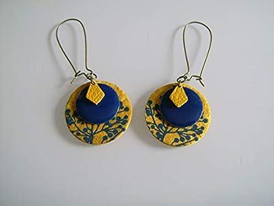 Boucles d'Oreilles Originales Bleu Electrique Marine Roi Royal Jaune Moutarde Curry Bronze Cuir/Papier/Email Dormeuse clip possible pas cher
