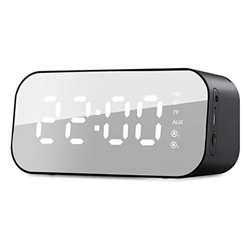 er Wecker Radio Bluetooth mit 3W Musik Box,Spiegel Tischuhr,5.6'' LED mit Temperatur Anzeige, Dual-Alalrm,3 Helligkeit,Schwarz ()