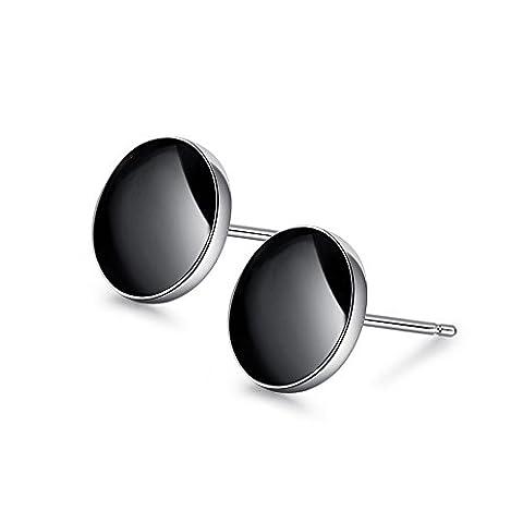 LANMPU Argent 925 Sterling Élégant simple rond classique boucles d'oreilles cristal colle Noir