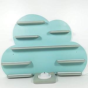 Regal zur Aufbewahrung für die Tonie Box und die Tonie Figuren, Musikbox, Wolke helltürkis/mint matt, Wolkenregal, Regal für die wohl beliebteste Box aller Zeiten, Kinderzimmer Regal, Deko Board