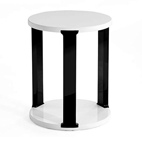 Table basse, salon étagère d'angle table ronde balcon mini table basse canapé côté thé table restaurant petite table (Color : Black+white, Size : 39.6 * 39.6 * 50cm)