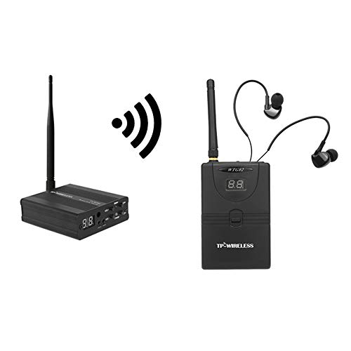 Docooler TP-Wireless In Ear Monitor System,Professionelles digitales 2,4G Monitorsystem für Bühnen (1 Sender 1 Empfänger) 2,4-ghz-analog