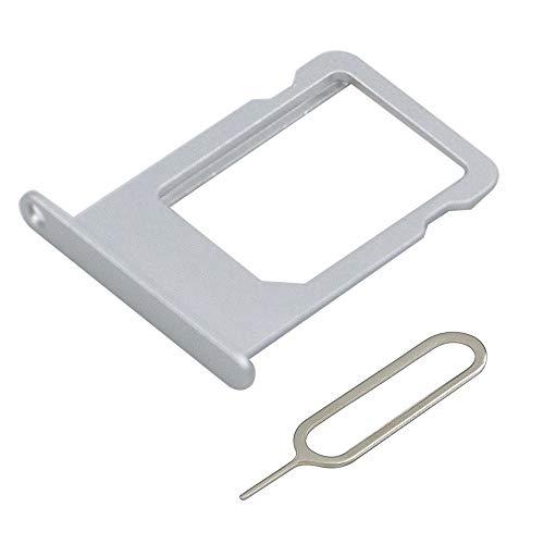 MMOBIEL Tiroir Carte SIM de Rechange Compatible avec Les iPhone 5S / Se 4.0 inch (Argent) INCL Sim pin