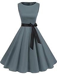 Gardenwed Damen 1950er Vintage Cocktailkleid Rockabilly Retro Schwingen Kleid Faltenrock Grey XL