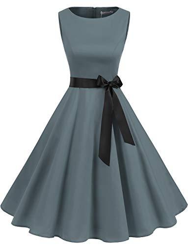 Gardenwed Damen 1950er Vintage Cocktailkleid Rockabilly Retro Schwingen Kleid Faltenrock Grey 3XL