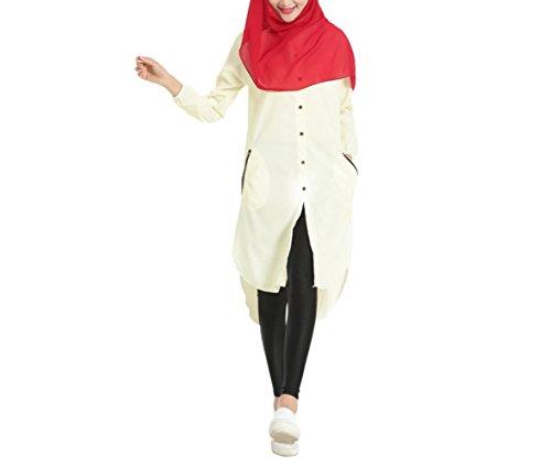 e Mode Abaya Hemden Muslim Langes Hemd Button Down Malaiisch Muslime Kleider Casual Kleider Dubai Türkisch Kleidung (XL, Beige) ()