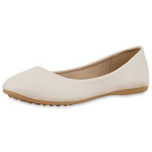 Creme Ballerinas (SCARPE VITA Damen Klassische Ballerinas Basic Slipper Slip On Schuhe Flats 174403 Creme Creme Total 38)
