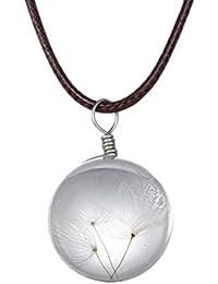 Fengteng Bola de Cristal Deseando el Diente de León Colgante Secado del Colgante de la Flor