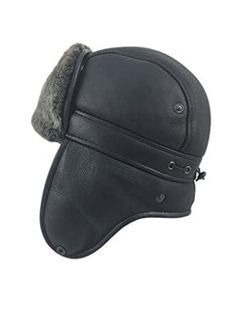 Zavelio Herren Lammfell Schaffell Flieger Russisch Ushanka mit Schnapp Hut X-Large Schwarz