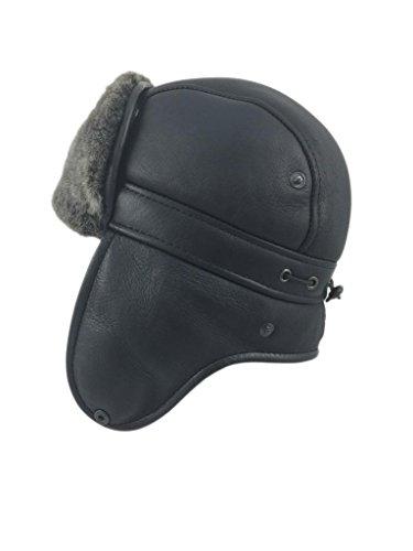 Zavelio Herren Lammfell Schaffell Flieger Russisch Ushanka mit Schnapp Hut X-Large Schwarz (Herren Russischen Hut)