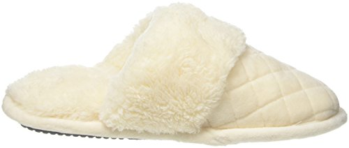 Dearfoams Damen Quilted Velour Scuff With Memory Foam Hausschuhe Off White (Alabaster 00284)