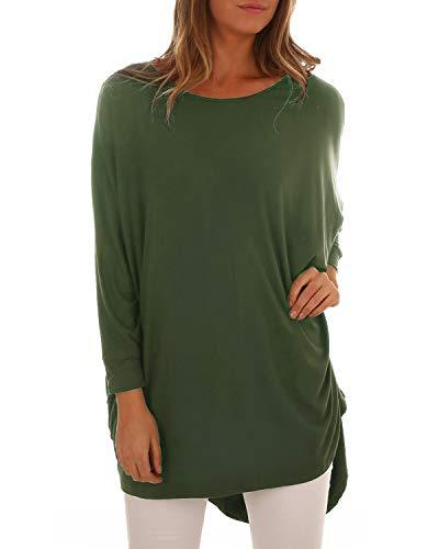 ACHIOOWA Damen Langarm Pullover Rundhals Lose T-Shirt Bluse Oversize Sweatshirt Oberteil Lang Tops Armee-Grün985449 2XL