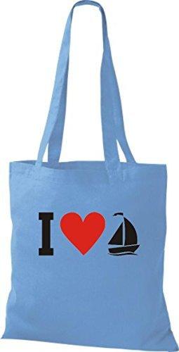 JUTA Borsa di stoffa I LOVE barca a vela, CAPITANO Celeste
