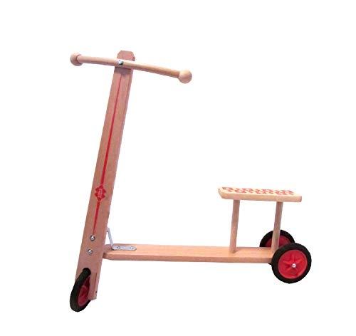 """Rudolphs Schatzkiste Roller \""""Kai\"""" mit 3 Kunststoffrädern und Sitzbank - Kinderroller - Holzroller - Cityroller - Tretroller - Kinderlaufrad - Lernlaufrad - Rutscher - Erzgebirge"""