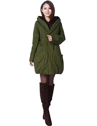 Youlee Damen Winter Reißverschluss Verdicken Baumwolle Mantel Armeegrün