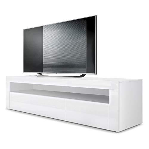 Vladon Meuble TV Bas Valencia, Corps en Blanc Mat/Façades en Blanc Haute Brillance avec Une Bordure en Blanc Haute Brillance
