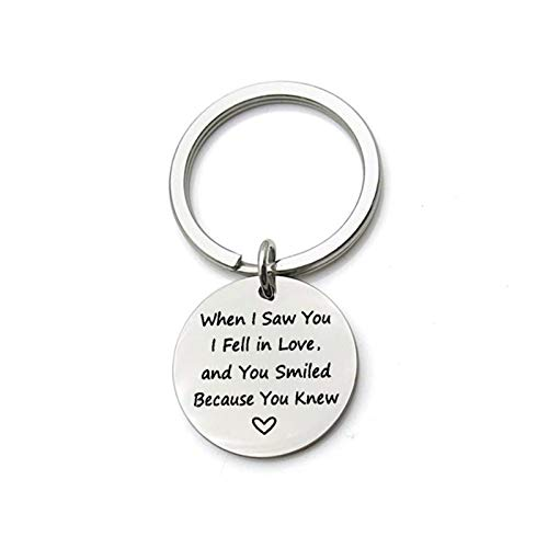 Aus Edelstahl Schlüsselhalter Graviert,Als Ich Dich SAH, Habe Ich Mich Verliebt, Silber Schlüsselanhänger mit Kostenlos Gravur ()