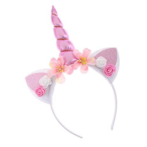 Homyl Mágico Niño Diadema Unicornio Cuerno para Mujer Tocados de Fiesta Disfraz Princesa para Navidad Atrezo de Vestuario - Rosa