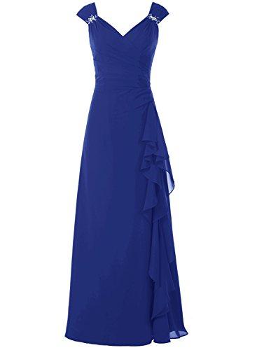 Bbonlinedress 2017 Elegantes Ruched A-Ausschnitt Kleid Ärmellos Abendkleid Royalblau