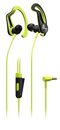 Pioneer SE-E5T(Y) In-Ear Sport/Active Kopfhörer mit Clip (Bedienelement, Mikrofon, leicht und bequem, wasserabweisend (IPX4), 3,5mm Klinkenstecker, für iPhone, Android Smartphones), Gelb (Mikrofon Ohr-clip Mit)
