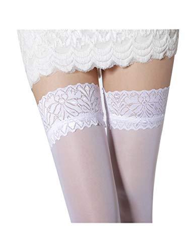 XHHH Damen Strümpfe/Strümpfe, Weiß, durchscheinend, Blumenstrümpfe für Oberschenkel hoch - 4