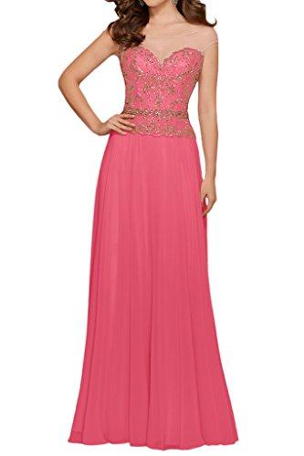 Milano Bride Glitzer Lang Chiffon Abendkleider Festkleider Ballkleider Brautmutterkleider mit Perlenstickerei Wassermelone