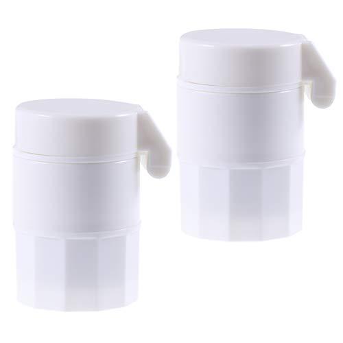 TOPBATHY 2pcs Tragbare Pillenschneider Medizin Splitter Tablet Cutter und Brecher Schleifen Pille Lagerung Pulverisierer Container - 5 Teiler Weiß Tab