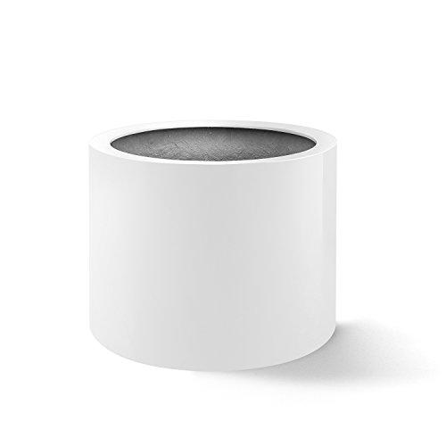 """Pflanzkübel """"Argento Cylinder"""" Weiß Hochglanz Rund Fiberglas *5 Jahre Garantie* - 60x60x40cm - F1144"""