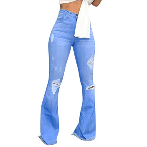 GNYD Damen Jeans High Waist,Hohe Taille Loch Jeans Knopf Quaste Bell Bottom Hosen - Taille Bell-bottom-jeans Hohe