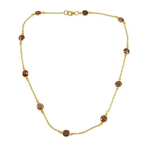 Silvestoo Halskette mit Indianer-Edelstein, 925 Sterlingsilber, vergoldet, PG-156225
