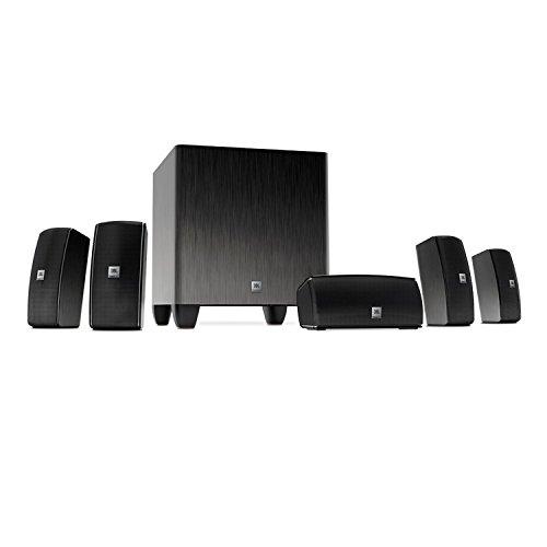 JBL CINEMA 610/230 Home Cinema 610  5.1 Heimkino Surroundsound Lautsprechersystem mit 60 Watt Aktivem Subwoofer und 5 Satellitenlautsprechern, Plug and Play Einfach zu Installierendes System - Schwarz (Aktive Soundbar Mit Receiver)