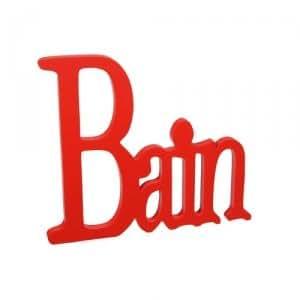 Plaque pour porte de salle de bain - Bois peint - Rouge