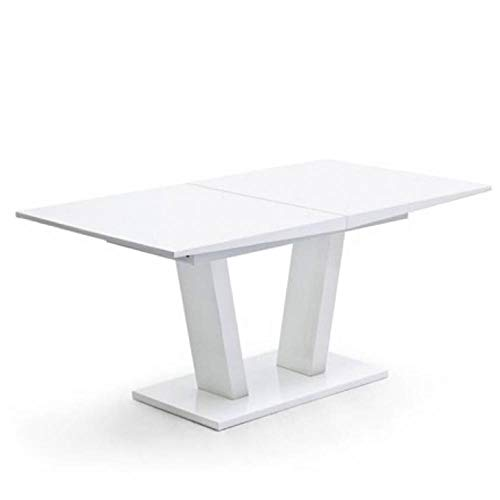 Mesa Comedor Extensible Design Flave 160 cm Blanca: Amazon.es: Hogar