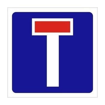 Road sign NO THROUGH ROAD dibond reflective 300X300MM