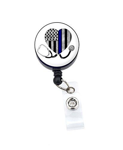 DÜNN Blau Line Krankenschwester Badge Reel Retractable ID Badge Holder 18