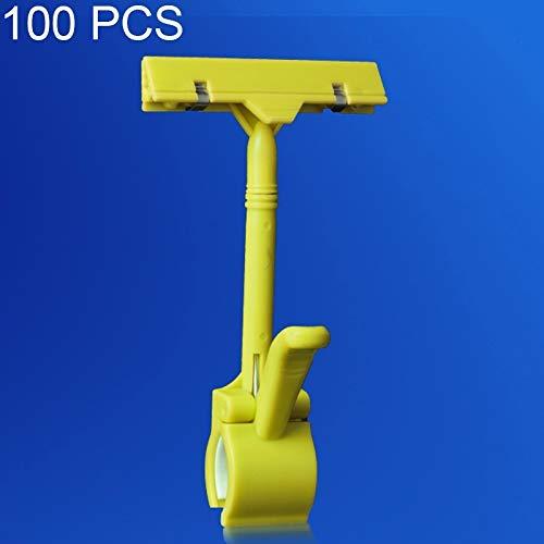 DASEXY 100 STÜCKE Werbung Clip Supermarkt Werbe Preisschild Ware Kunststoff Label Home Decoration Deko Wohnzimmer (Farbe : Gelb)